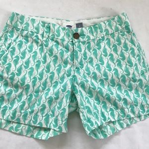 5/$20 Old Navy Seahorse shorts white green size 0